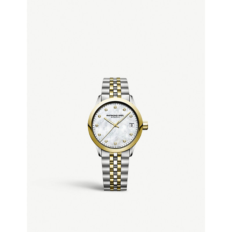 RAYMOND WEIL 5634St97081 Freelancer Yellow-Gold Plated Stainless Steel And Diamond Watch in White/Gold