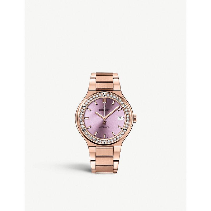 HUBLOT 568.Ox.891P.Ox.1204 Classic Fusion 18Ct Rose-Gold And Diamond Watch