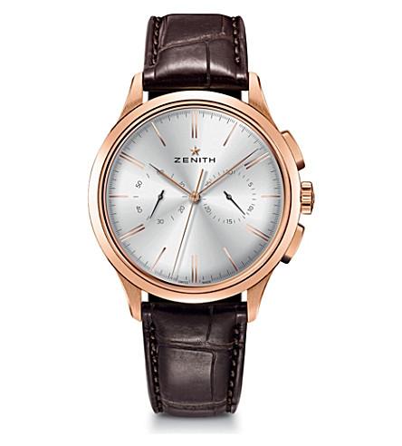 Zenith 18.2270.4069/01.C498 El Primero Elite rose gold and alligator leather watch
