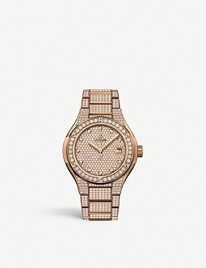 HUBLOT 585.OX.9000.OX.3604 Classic Fusion 18ct rose-gold and diamond watch