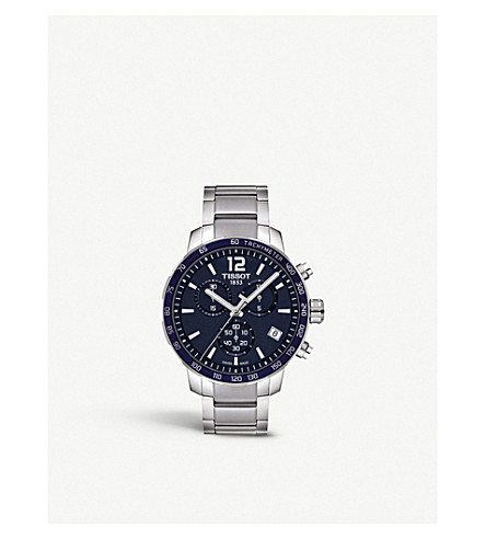 TISSOT T095.417.11.047.00 Quickster Stainless Steel Watch in Silver/ Blue