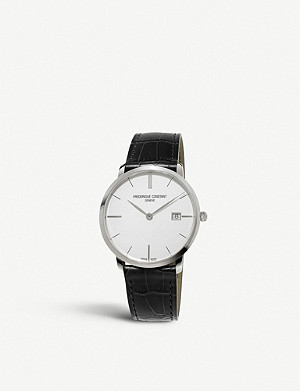 FREDERIQUE CONSTANT FC-220S5S6 Slimline stainless steel and leather watch