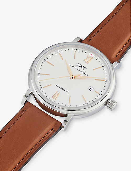 IWC SCHAFFHAUSEN IW356517 portofino automatic leather watch