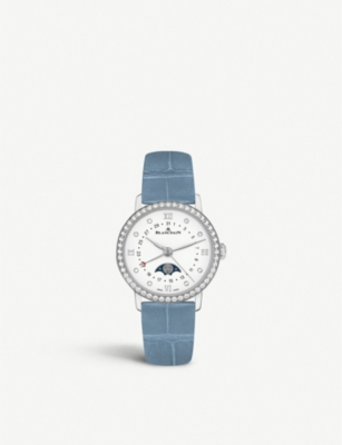 BLANCPAIN 6106-4628-95A Villeret stainless steel, diamond and leather watch