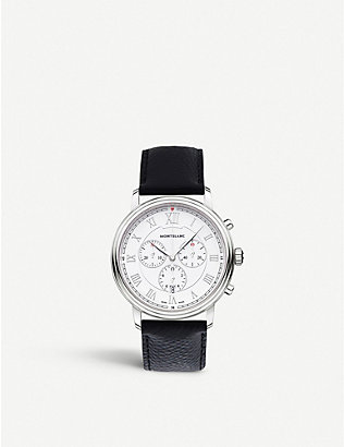 MONTBLANC: 114339 tradition stainless steel and rubber watch