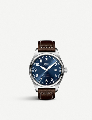 IWC SCHAFFHAUSEN Pilot's Mark XVIII leather and stainless steel watch