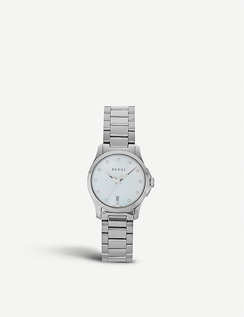 GUCCI: YA126542 Mother of Pearl G Timeless watch