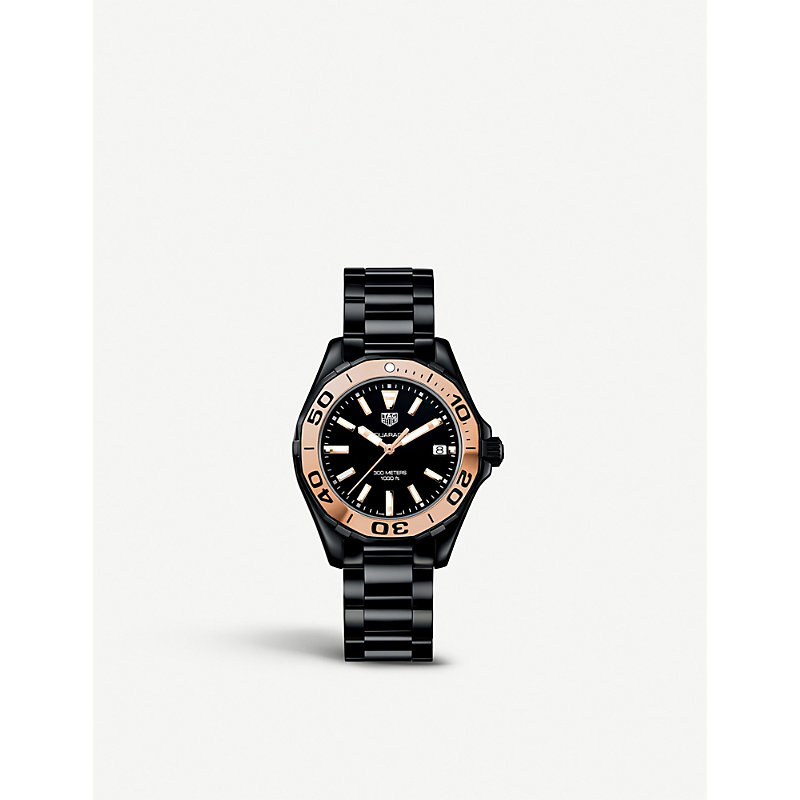 TAG HEUER | Tag Heuer WAY1355.BH0716 Aquaracer Rose Gold-Plated And Ceramic Watch, Women'S | Goxip