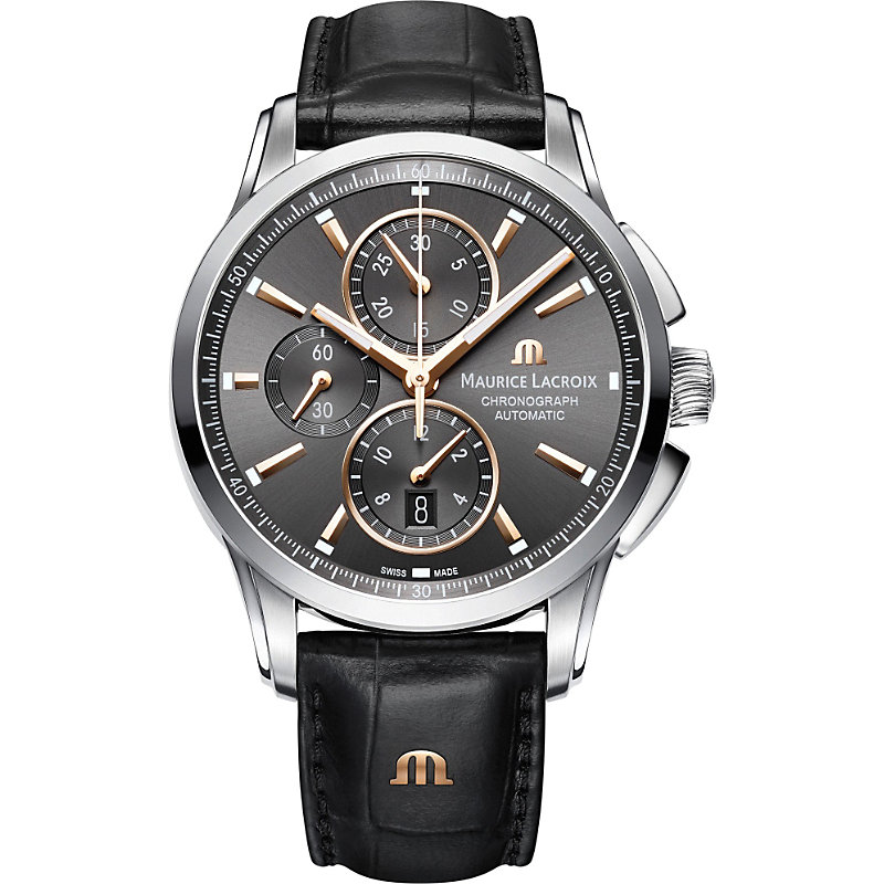 MAURICE LACROIX Pontos Pt6388-Ss001-331-1 Chronograph Watch in Black