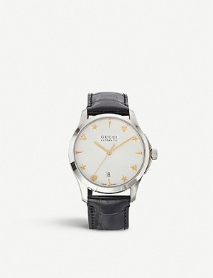 GUCCI YA126468 G-Timeless silver and leather watch