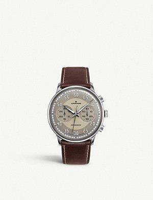 JUNGHANS 027/3684.00 Meister Driver Chronoscope stainless steel and leather strap watch