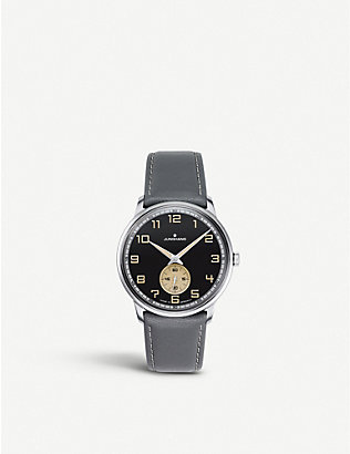 JUNGHANS: 027/3607.00 Max Bill Handaufzug stainless steel and leather watch