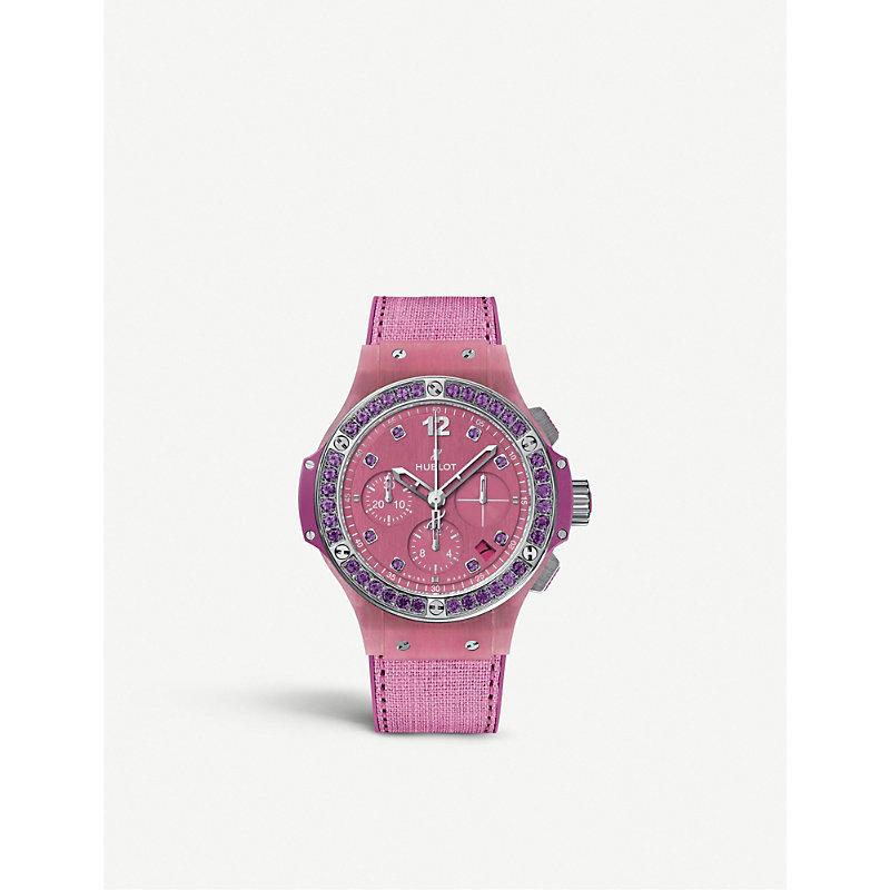 HUBLOT 341.Xp.2770.Nr.1205 Big Bang Purple Linen Watch in Pink