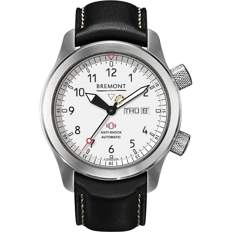 BREMONT Mb11 Wh Martin Baker Stainless Steel And Leather Watch in Silver/Black