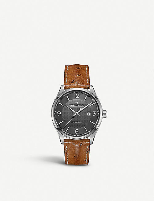 HAMILTON: H32755851 Jazzmaster QTZ stainless steel and leather watch