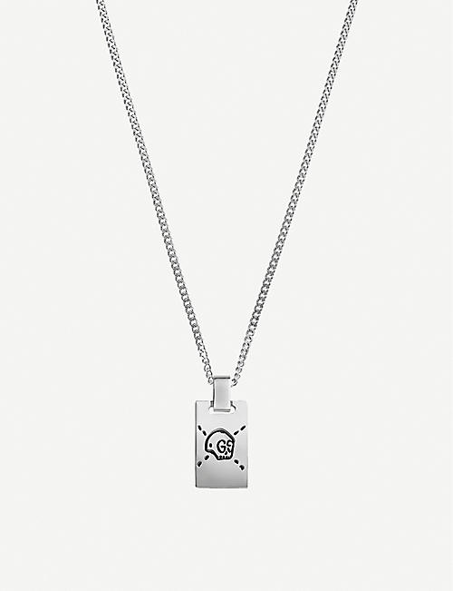 GUCCI: GucciGhost sterling silver skull necklace
