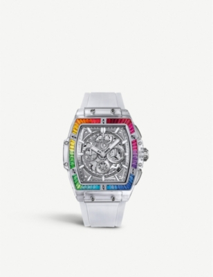 HUBLOT 641.JX.0120.RT.4099 Spirit of Big Bang Sapphire Rainbow crystal and 18ct white-gold watch