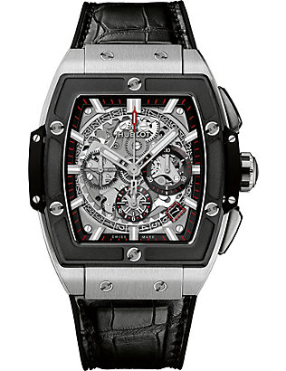 HUBLOT: 641.NM.0173.LR Big Bang Spirit of Titanium Ceramic and leather chronograph watch