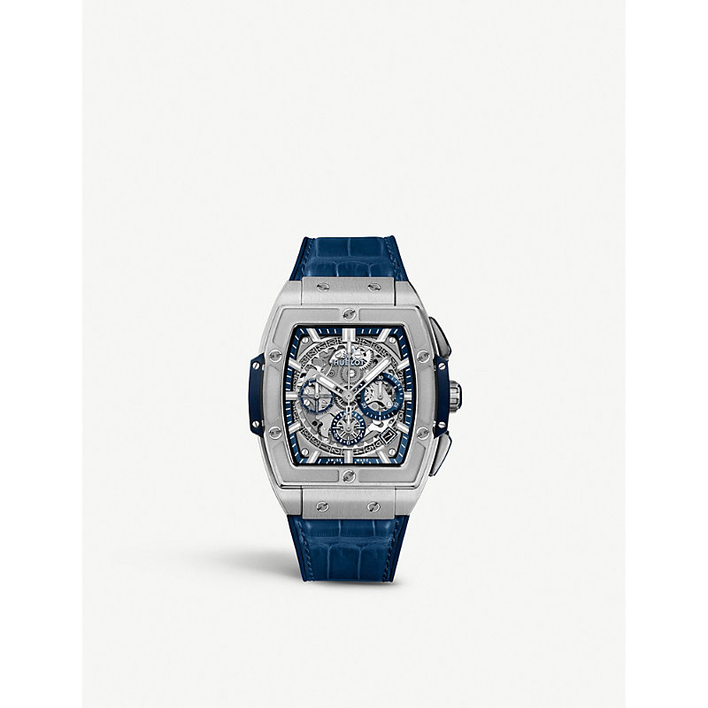 HUBLOT 641.Nx.7170.Lr Spirit Of Big Bang Titanium And Alligator-Leather Watch in Blue