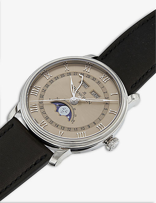 BLANCPAIN 6654-1504-55A Villeret 18ct white-gold and alligator-leather watch