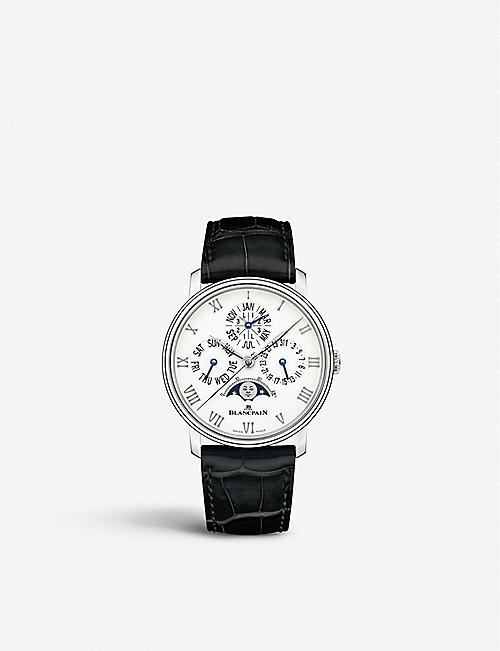 BLANCPAIN 6656112755B Villeret Quantieme Perpetuel stainless steel and alligator leather watch