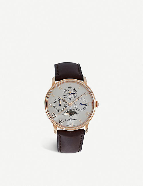 BLANCPAIN 6656364255B Villeret Quantieme Perpetuel 18 ct rose gold and alligator leather watch