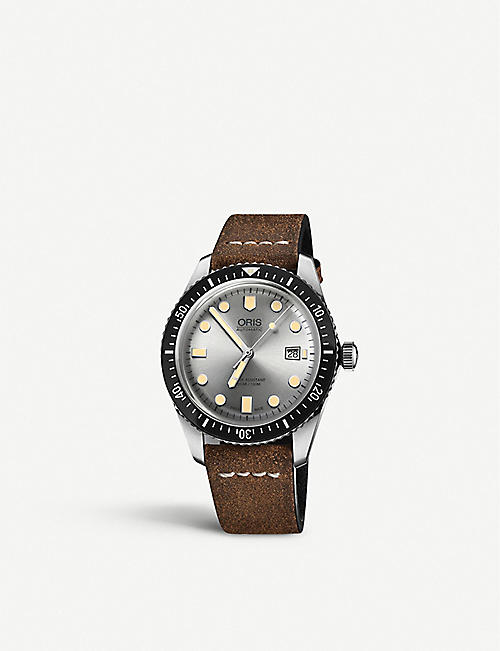ORIS 01 733 7720 4051-07 5 21 02 Diver stainless steel and leather watch