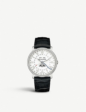 BLANCPAIN 6676-1127-55B Villeret stainless steel and leather watch