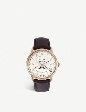 BLANCPAIN 6676-3642-55B Villeret 18-ct rose gold-plated stainless steel and leather watch