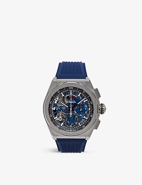 ZENITH: 95.9002.9004/78.r584 Defy El Primero 21 brushed titanium and rubber watch