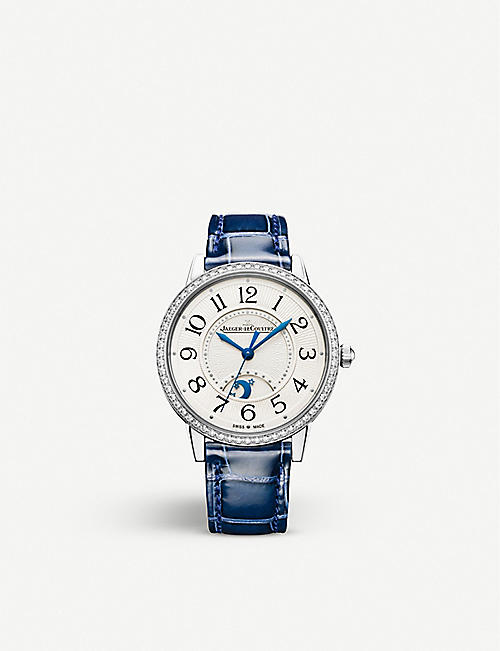 JAEGER-LECOULTRE Rendez-Vous Moon stainless steel, diamond and leather watch