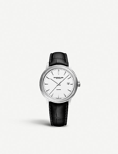 RAYMOND WEIL: 2237-STC-30011 Maestro stainless steel and leather watch