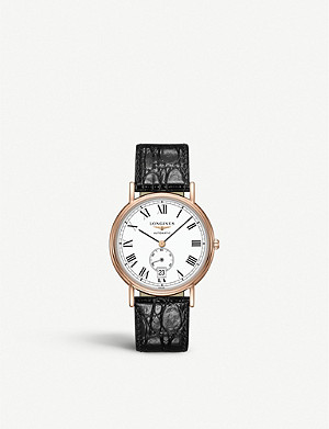 LONGINES L48051112 Presence rose-gold PVD and leather watch