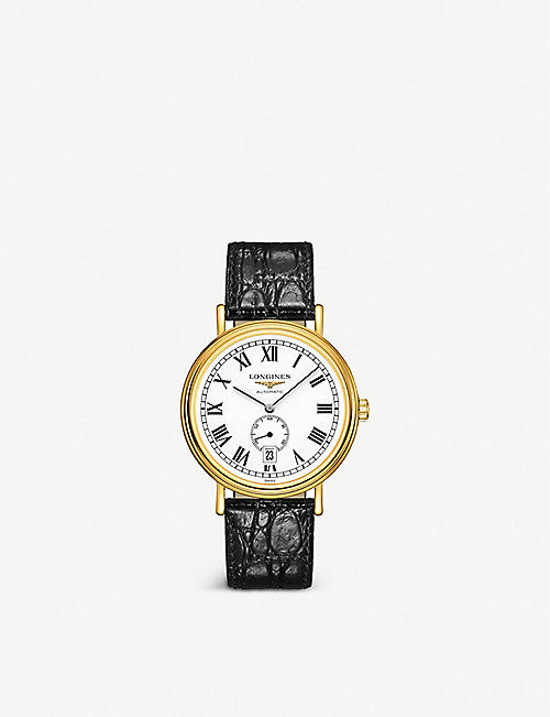 LONGINES: L4.905.2.11.2 Présence yellow PVD-coated stainless steel and leather watch