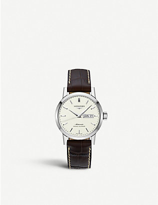 LONGINES: L4.827.4.92.2 1832 stainless steel and leather watch