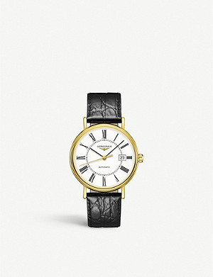 LONGINES L49222112 Presence yellow-gold PVD and leather watch