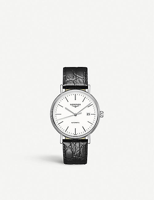 LONGINES: L49214122 Presence stainless steel and croc-embossed leather watch