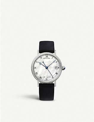 BREGUET: G9068BB52976DD00 Classique 9068 18ct white-gold, mother-of-pearl and leather automatic watch