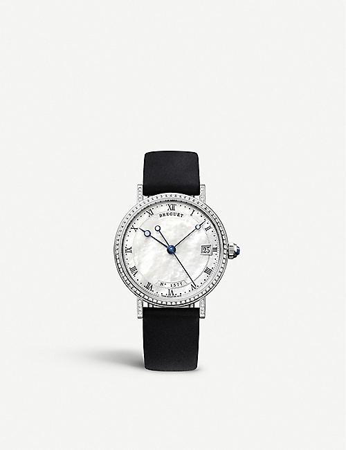 BREGUET G9068BB52976DD00 Classique 9068 18ct white-gold, mother-of-pearl and leather automatic watch