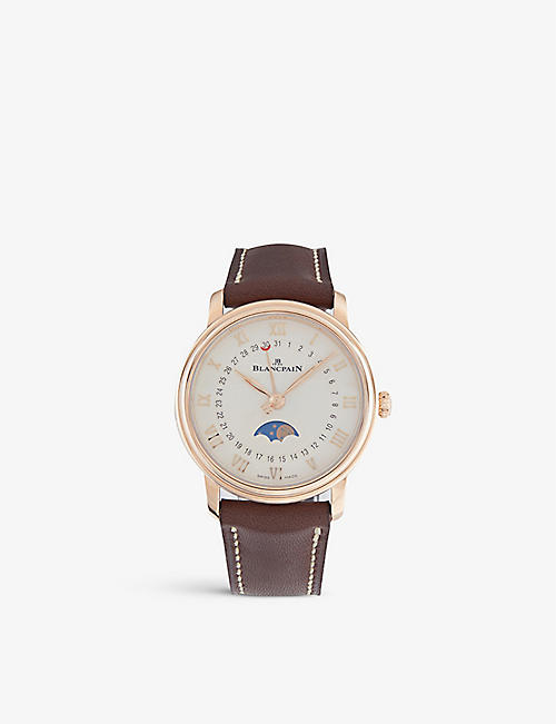 BLANCPAIN: 6106364255A rose-gold and satin watch