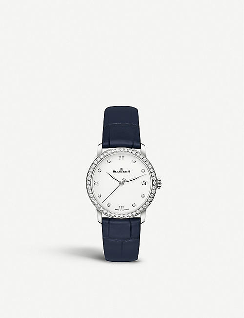 BLANCPAIN: 6127-4628-55 Villeret diamond set and leather automatic watch