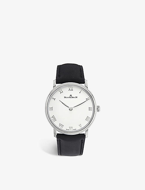 BLANCPAIN: 6605-1127-55 Villeret Ultraplate steel and leather manual watch