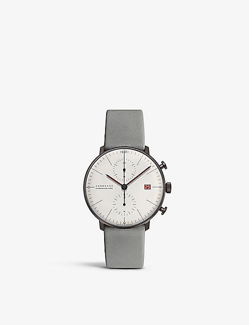 JUNGHANS: Max Bill stainless steel and leather chronograph watch