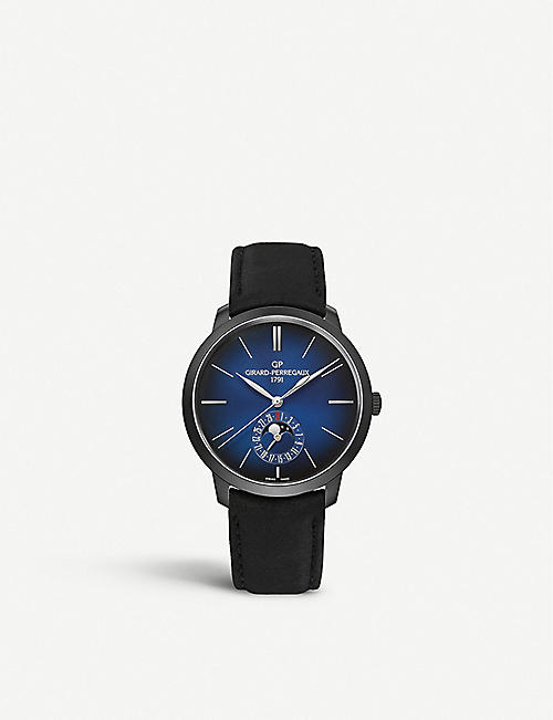 GIRARD-PERREGAUX: 1966 Blue Moon stainless steel and leather watch