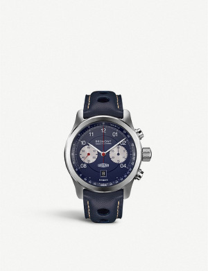 BREMONT Jaguar D-Type automatic stainless-steel and leather watch