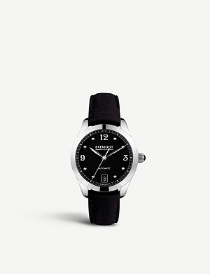 BREMONT Solo-35 stainless steel and leather watch