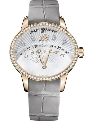 GIRARD-PERREGAUX 80495d52a251-ck2a Retrograde grey alligator and rose gold watch