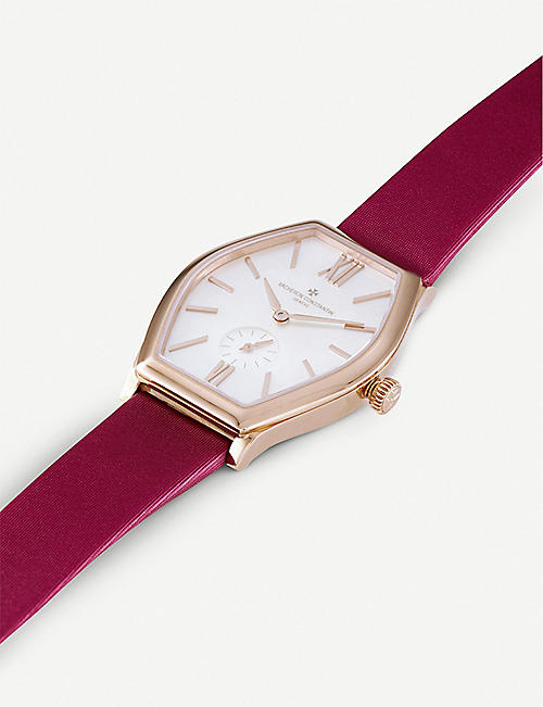 VACHERON CONSTANTIN 81015/000R-B282 Malte Small Modele 18ct rose-gold, mother-of-pearl and alligator strap watch