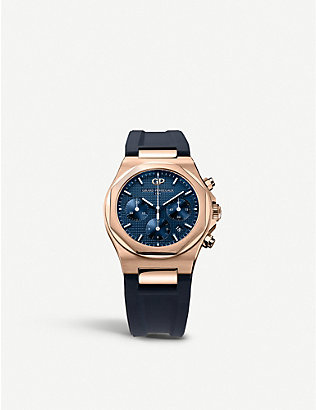 GIRARD-PERREGAUX: 81020-52-432-bb4a Laureato 18ct rose-gold and rubber bracelet chronograph watch