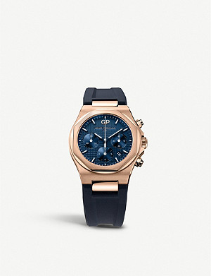 GIRARD-PERREGAUX 81020-52-432-bb4a Laureato 18ct rose-gold and alligator leather bracelet chronograph watch
